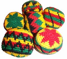 Rasta Assorted Hacky Sack / Footbag - Quantity 1 - Hand Crocheted Made in Guatemala - Comes with Tips & Game Instructions...