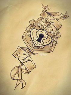 Padlock, tattoo sketch made by Taty Tattoo lucchetto chiave key ornaments decorazioni decoration lettering name scroll nomi pergamena tatuaggio black and white