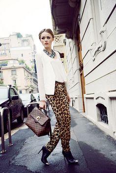 Kay of Kayture in cool leopard print pants. Prints In Streetstyle.