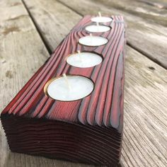 Red Tea Light Holder – Shou Sugi Ban Candle Holder – Candle Holder for table – Red Wood Candle Holder – Rustic Candle Holder Wood Tea Light Holder, Rustic Candle Holders, Rustic Candles, Tea Candles, Wood Burning Techniques, Wood Home Decor, Wood Gifts, Tea Lights, Led