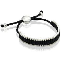 Links of London Friendship Bracelet ($210) ❤ liked on Polyvore featuring jewelry, bracelets, accessories, bracelet bangle, sterling silver bangles, black friendship bracelet, black bangles and sterling silver braided bracelet