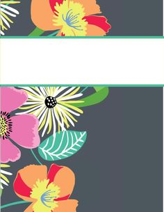 Tons of Vera Bradley and Lilly Pulitizer binder cover printables for all of your classes Cute Binder Covers, Binder Cover Templates, Printable Planner, Printables, Printable Calendars, Free Printable, 1 Clipart, Binder Organization, College Organization
