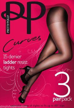 Pretty Polly Curves 15 denier Ladder resist Tights XL - XXL to 60