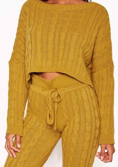 30b5bf6e5f Rene Mustard Cable Knit Cropped Loungewear Set Missy Empire Loungewear Set