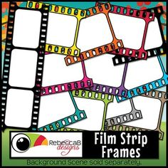 Film Strip Frames contains 26, brightly colored (including black and white), film strip frames.  There are white filled and transparent frames perfect for product covers, name tags, folders, shelves, posters etc. Import to your editing program (eg. Powerpoint) and add text and/or photos behind the frame.