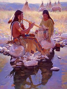 Native American Art - Two Heart one Song : by Ronald Stephen Riddick Native American Flute, Native American Paintings, Native American Wisdom, Native American Pictures, Native American Beauty, American Indian Art, Native American History, American Indians, American Symbols