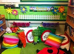 Book corner/library garden and more classroom displays. Made w Eric Carle characters or pieces