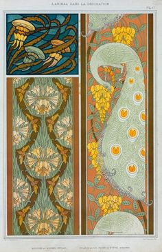 Eugène Grasset  Eugène Grasset  - Jellyfish and seaweeds stained glass. Crickets and lilies, peacocks and laburnum, borders. (1897)