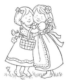 sisters coloring page Embroidery Transfers, Hand Embroidery Patterns, Embroidery Applique, Cross Stitch Embroidery, Embroidery Designs, Sewing Appliques, Digi Stamps, Coloring Book Pages, Copics