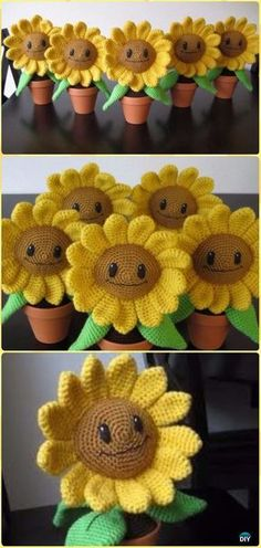 Crochet Amigurumi Happy Sunflower Free Pattern - Crochet Plant Free Patterns