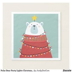 Avoid any messy dinners with Christmas napkins from Zazzle. Browse through our marketplace of paper and cloth napkins ranging in different styles and sizes. Holiday Cards, Christmas Cards, Christmas Ornaments, Holiday Decor, Polar Bear Party, Christmas Paper Napkins, Party Lights, Christmas Illustration, White Elephant Gifts