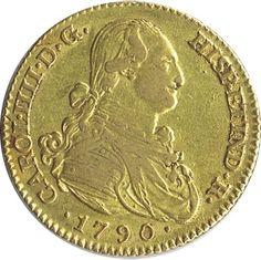 Moneda de oro 2 Escudos Carlos IV 1790 Madrid MF.