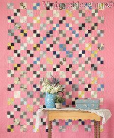 """ANTIQUE c1880-1910 Double Pink 4 square QUILT 80"""" x 64"""""""