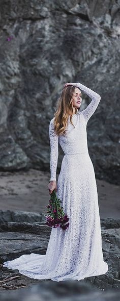 Low Back High Neck Long Sleeve Wedding Dress #weddings #dresses #weddingdresses #weddingideas #weddinginspiration