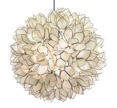 Lotus Flower Chandelier is available in White or Smoke with hand cup capiz shells that are edged in a Silver Metal and assembled like a stained glass window. Available in small, medium or large. Fixture opens from below for easy lamp access. One 100 watt, 120 volt A19 type Medium base Incandescent lamp is required but not included: Small: 13 inch width. Medium: 16.5 inch width. Large: 21 inch width. Comes with cord and plug or can be hardwired with included canopy. 350