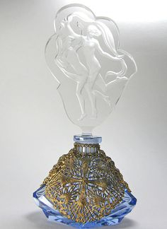 Czech Figural Stopper Blue Filigree Base Perfume Bottle 1920-30's
