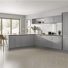 Chelford Navy Handleless Kitchen Did you know that you can go handleless on a Shaker kitchen? Modern L Shaped Kitchens, L Shaped Kitchen Designs, Grey Kitchen Designs, Kitchen Layout L Shaped, L Shaped Kitchen Interior, Modern Shaker Kitchen, Shaker Style Kitchens, Modern Kitchen Interiors, Navy Kitchen
