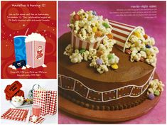 Movie party cake idea ~ LOVE the cups and candied popcorn Movie Theater Party, Cinema Party, Movie Night Party, Party Time, Movie Theme Cake, Movie Cakes, Outdoor Movie Party, Sleepover Party, Birthday Party Themes