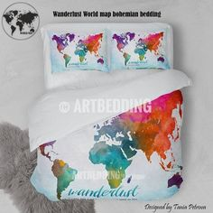 North and south america vintage map bedding america old map duvet wanderlust world map bedding watercolor world map duvet cover set boho abstract map comforter set gumiabroncs Image collections