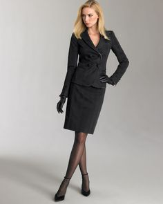 The beauty and classic elegance of women's fashion. Suits For Women, Women Wear, Nude Tights, Classic Style Women, Classic Elegance, Dress Suits, Skirt Suits, Black Pantyhose, Confident Woman