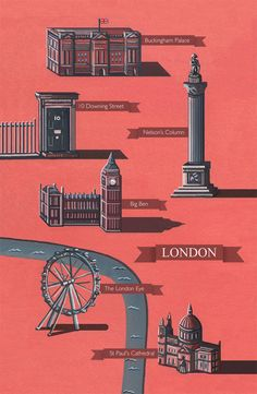 London Illustrated Map, produced with gouache, watercolour and digital. Featuring all the iconic landmarks of this famous city.