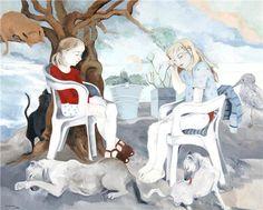Neşe Erdok Fashion Painting, New Artists, Painters, Illustration, Painting Styles, Discovery, Woman, Gatos, Figurative
