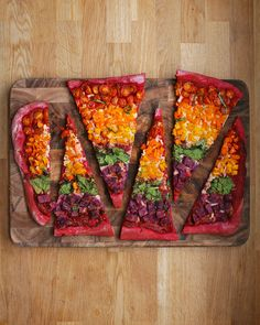 Rainbow Sheet-Pan Pizza Recipe by Tasty Pizza Recipes, Vegetarian Recipes, Dinner Recipes, Healthy Recipes, Vegetarian Pizza, Meatball Recipes, Bulgogi, Gourmet Cooking, Cooking Recipes