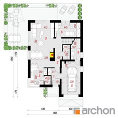 Projekt domu Dom pod hikorą 3 - ARCHON+ Dream House Plans, Floor Plans, How To Plan, Home, Two Story Houses, Ad Home, Homes, Haus, Floor Plan Drawing