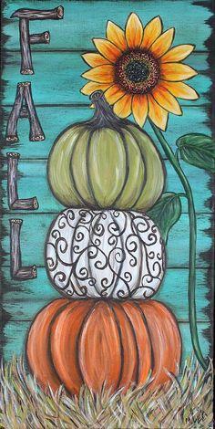 Fall Canvas Painting, Autumn Painting, Autumn Art, Tole Painting, Diy Painting, Fall Paintings, Decorative Painting Projects, Pumpkin Painting, Canvas Paintings