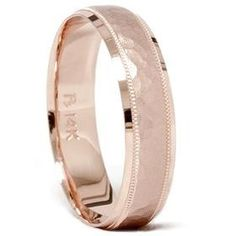 Mens 14K Rose Gold Hammered Wedding Ring Band 6MM New by Pompeii3, $299.00