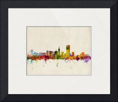 """San Francisco City Skyline"" by Michael Tompsett, Castellon // Watercolor art print of the skyline of San Francisco, California, United States // Imagekind.com -- Buy stunning fine art prints, framed prints and canvas prints directly from independent working artists and photographers."