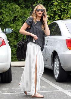 long skirt + loose boxy top