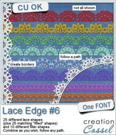 """#Lace #Edge #6 - Font - Create a variety of lace borders with this font. You get a total of 25 basic lace edge patterns (doubled with a """"filled in"""" version for..."""