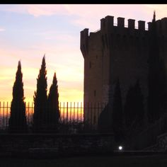 Perugia, Italy - sunset at the city gate.