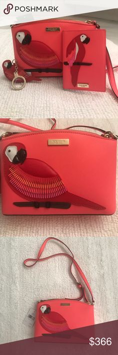 1 HOUR SALE. Kate Spade Bundle Purse & accesories 🌴🌺HOST PICK 🌺🌴BEST IN BAGS PARTY 6/12/17 🌴🌺Beautiful coral Kate spade crossbody purse with fun parrot and matching key ring and mini wallet / license/passport/credit card holder. Sold as a bundle only. NO TRADES. if not sold I am keeping this for myself. I love it !! kate spade Bags