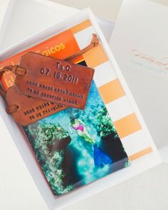 This couple sent a small, striped box with a Turks and Caicos travel book and a personalized luggage tag to each guest to thank them for making the trip. (via marthastewartweddings) Wedding Welcome Gifts, Wedding Gifts, Wedding Stuff, Wedding Bags, Wedding Prep, Cabana, Wedding Favours, Wedding Invitations, Invites
