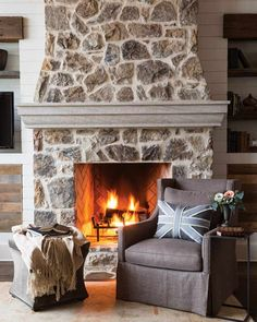 The Most Beautiful Mountain Lodge Fireplaces - Cottage Journal - Modern Design Lodge, Cottage Homes, Cheap Home Decor, Cottage Fireplace, Cottage Interiors, Painted Stone Fireplace, Fireplace Decor, Fireplace, Rustic House
