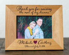 Custom 4x6 Picture Frame, Thank You Gift for Parents, Wedding, Mother in Law, Mother of the Groom, Husbands Mom, Engagement Photos
