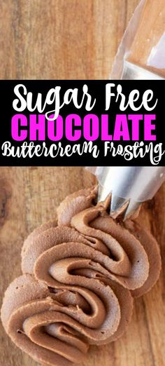 Sugar Free chocolate Buttercream Frosting This Low Carb Chocolate Buttercream is the perfect sugar free chocolate frosting recipe. Easy to make Keto and Low Carb chocolate frosting that is smooth and perfect for any dessert! Sugar Free Chocolate Frosting Recipe, Sugar Free Frosting, Sugar Free Chocolate Chips, Chocolate Buttercream Frosting, Sugar Free Deserts, Sugar Free Sweets, Sugar Free Recipes, Sugar Free Cakes, Sugar Free Snacks