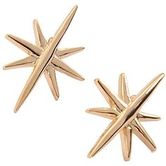 Lobo Star Earings (€55) ❤ liked on Polyvore featuring jewelry, earrings, gold plated brass, star earrings, star jewelry, butterfly clasp earring, 24-karat gold jewelry and clasp earrings