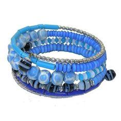 Five Turn Bead and Bone Bracelet - Light Blues - CFM