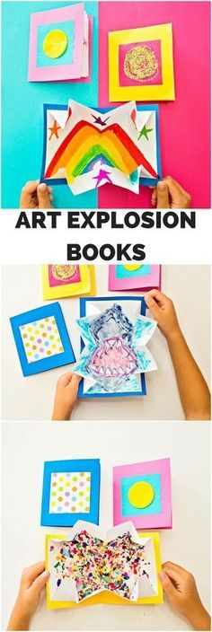 DIY Art Explosion Books. Fun kids art project #kidsartscraft #KidsCrafts #kidsart #kidsartwork