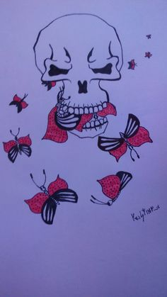 Tatto # skull # butterflyes by Kristine Igovena