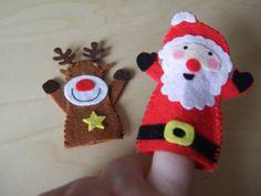 Felt Set of 2 Christmas Finger Puppets. Santa & Rudolf / by MakeStitchKnit