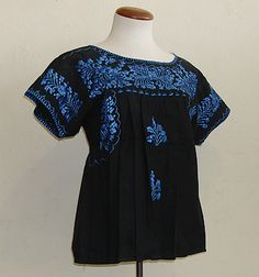 Mexican Peasant Blouse. Blue on black - gorgeous