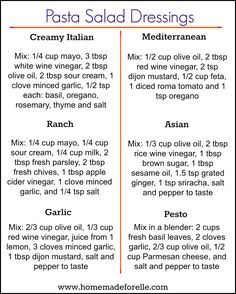 You don't have to get bored with the same ol… 6 Pasta Salad Dressing Recipes. You don't have to get bored with the same old mayo-based pasta dressing, try these 6 homemade variations to mix it up! Easy Pasta Salad, Pasta Salad Recipes, Sauce Recipes, Dishes Recipes, Beef Recipes, Chicken Recipes, Cooking Recipes, Cooking Pork, Chicken Marinades