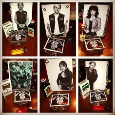 Sons of Anarchy Party- Center pieces I made. I printed their pictures. I bought cheap frames at Walmart and added chains around.