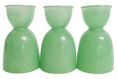 Frosted Green Eggcups, S/3