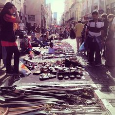 Lots of people at San Telmo Sunday Market in Buenos Aires Argentina