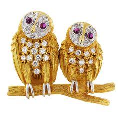 Twin Owl Gold and Diamonds Pin at 1stdibs